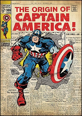 """""RoomMates Captain America Comic Cover Peel and Stick Giant Wall Decal, 27"""""""" x 40"""""""""""""" 135698"