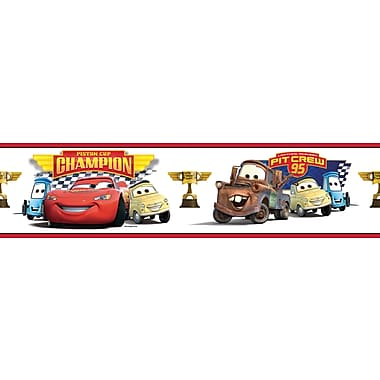 RoomMates® Cars Piston Cup Champions Peel and Stick Border, Multi-color, 180in. L x 5in. H