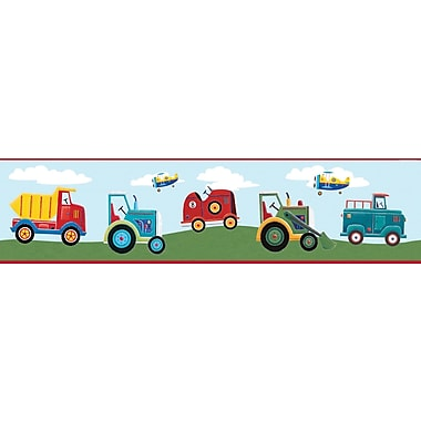 RoomMates® Transportation Peel and Stick Border, Blue, Green, Light Blue, Red, 180in. L x 5in. W