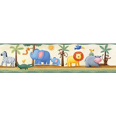 RoomMates® Jungle Adventure Peel & Stick Border-Beige,Blue,Green,Lime,Medium Gray,Off White,5in.Hx180in.