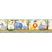 "RoomMates® Jungle Adventure Peel & Stick Border-Beige,Blue,Green,Lime,Medium Gray,Off White,5""Hx180"""