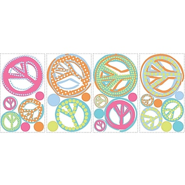 RoomMates® Peace Signs Peel and Stick Wall Decal with Glitter, 10in. x 18in.