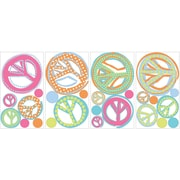 "RoomMates® Peace Signs Peel and Stick Wall Decal with Glitter, 10"" x 18"""