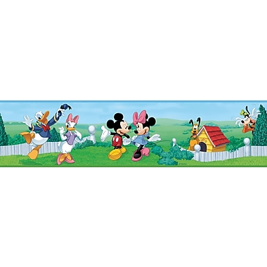 RoomMates® Mickey and Friends Peel and Stick Border, Green, Blue, 180in. L x 5in. H