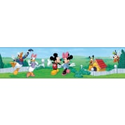 "RoomMates® Mickey and Friends Peel and Stick Border, Green, Blue, 180"" L x 5"" H"