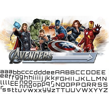 RoomMates® The Avengers™ Peel and Stick Giant Wall Decal with Alphabet, 18in. x 40in., 9in. x 40in.