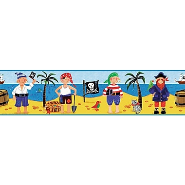 RoomMates® Treasure Hunt Peel and Stick Border-Black,Blue,Gold,Light Blue,Mustard,Pink, 180in.L x 5in.W
