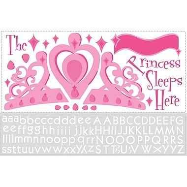 RoomMates® Princess Sleeps Here Peel and Stick Giant Wall Decal with Alphabet, 18in. x 40in., 9in. x 40in.