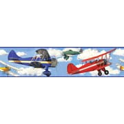 "RoomMates® Vintage Planes Peel & Stick Border, Blue, Dark Gray, Light Blue, Medium Gray, 180""Lx5""H"
