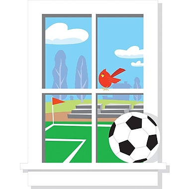 RoomMates® Soccer Practice Window Peel and Stick Giant Wall Decal, 27in. x 40in.