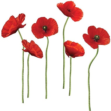 RoomMates® Poppies at Play Peel and Stick Giant Wall Decal, 18in. x 40in., 9in. x 40in.