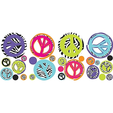 RoomMates® Zebra Print Peace Signs Peel and Stick Wall Decal, 10in. x 18in.