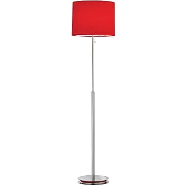 Adesso® 3023-08 Bobbin Floor Lamp, 1 x 100 W, Satin Steel/Red