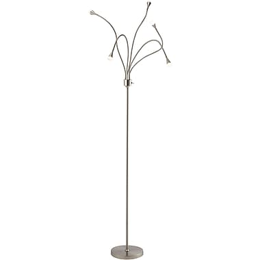 Adesso® 3195-22 Firefly LED Floor Lamp, 5 x 3 W, Satin Steel