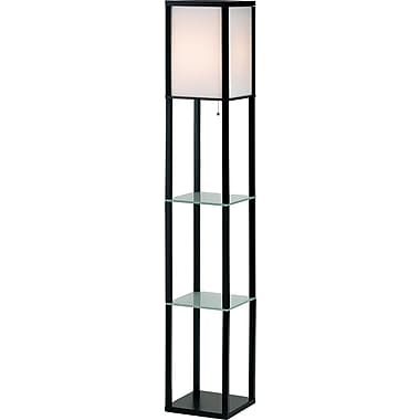 Adesso® 3603-01 Berk Shelf Floor Lamp, 1 x 150 W, Black-wood
