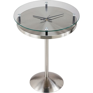 Adesso® HX4110-22 Floating Glass Time Table, Satin Steel