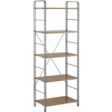 Adesso® WK2303-22 Joy Five Wood Shelf, Steel/Maple