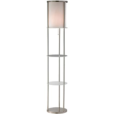 Adesso® 3666-22 Holden Shelf Floor Lamp, 1 x 150 W, Satin Steel