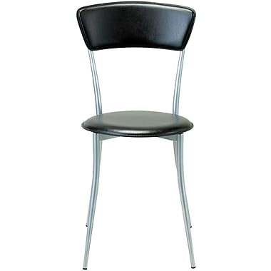 Adesso® WK2843-01 Cafe Chair, Black Leather/Steel