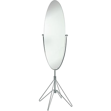 Adesso® WK2866-22 Atom Floor Mirror, Satin Steel/Glass