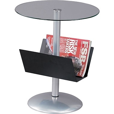 Adesso® WK2966-01 Sutton Magazine Table, Black/Chrome