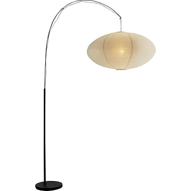 Adesso® 6431-01 Eclipse Floor Lamp, 1 x 100 W, Black/Chrome