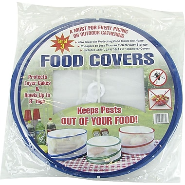 Trademark Global Set of 3 Pop Up Outdoor Food Cover, 17in. L x 18in. W x 1in. H