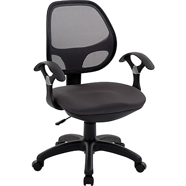 TechniMobili Mesh Computer and Desk Office Chair, Fixed Arms, Black (RTA-0097M-BK)