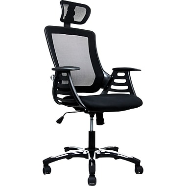 RTA Products RTA-802H-BK Techni Mobili High Back Mesh Chair, Fixed Arms, Black