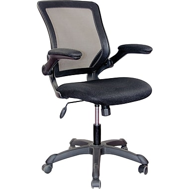 Techni Mobili Mid-Back Mesh Task Chair, Adjustable Arm, Black