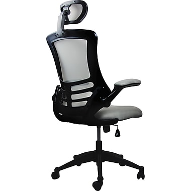 Techni Mobili High-Back Mesh Executive Chair, Adjustable Arm, Silver/Grey