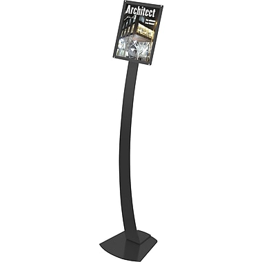 Deflecto Magazine Size Contemporary Sign Stand, Black