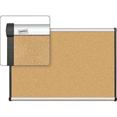 Staples Cork Bulletin Board with Aluminum Frame, 3' x 2'