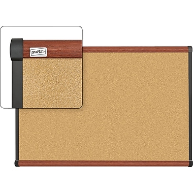 Staples Cork Bulletin Board with Cherry Finish Frame, 3' x 2'