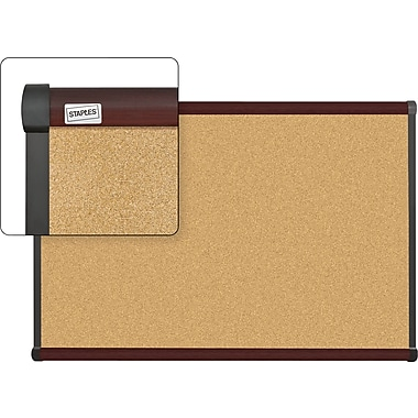 Staples Cork Bulletin Board with Mahogany Finish Frame, 3' x 2'