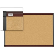 Staples Cork Bulletin Board, Mahogany Finish Frame, 3' x 2'