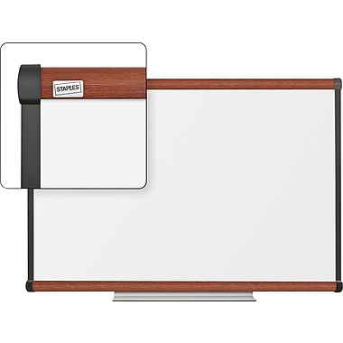 Staples Dry-Erase Board with Cherry Frame, 3' x 2'