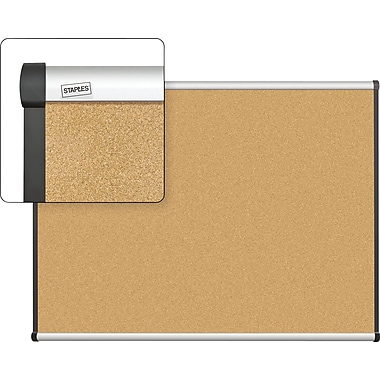 Staples Cork Bulletin Board with Aluminum Frame, 4' x 3'