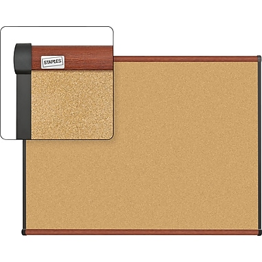 Staples Cork Bulletin Board with Cherry Finish Frame, 4' x 3'