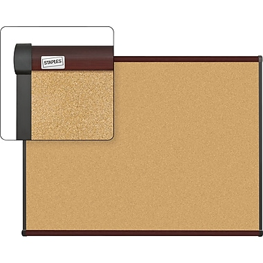 Staples Cork Bulletin Board with Mahogany Finish Frame, 4' x 3'