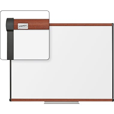 Staples Dry-Erase Board, Cherry Frame, 4' x 3'