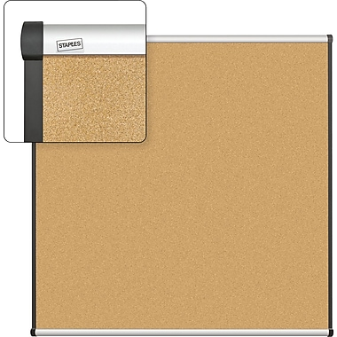 Staples Cork Bulletin Board, Aluminum Frame, 4' x 4'