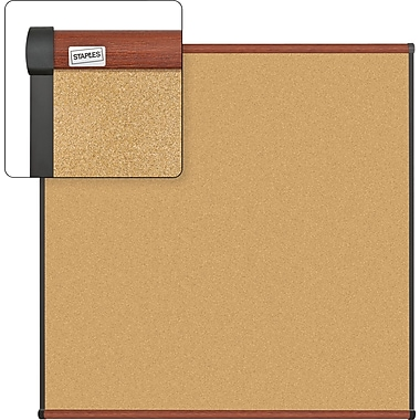 Staples Cork Bulletin Board with Cherry Finish Frame, 4' x 4'