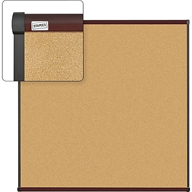 Staples Cork Bulletin Board with Mahogany Finish Frame, 4' x 4'