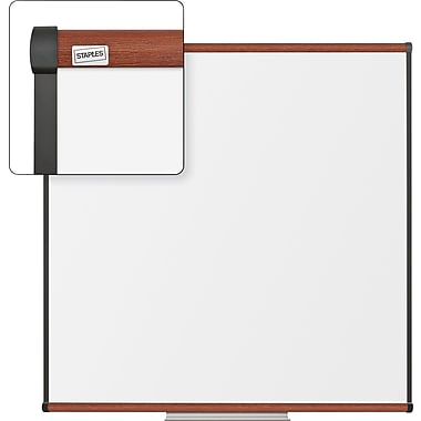 Staples Dry-Erase Board, Cherry Frame, 4' x 4'