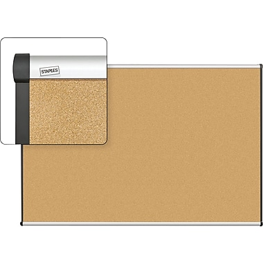 Staples Cork Bulletin Board with Aluminum Frame, 6' x 4'