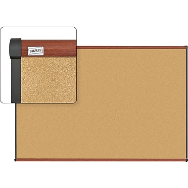 Staples Cork Bulletin Board with Cherry Finish Frame, 6' x 4'