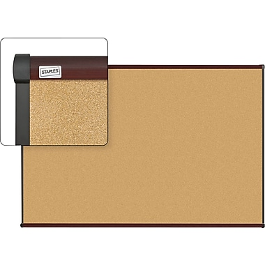 Staples Cork Bulletin Board with Mahogany Finish Frame, 6' x 4'
