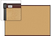 Staples Cork Bulletin Board, Mahogany Finish Frame, 6' x 4'