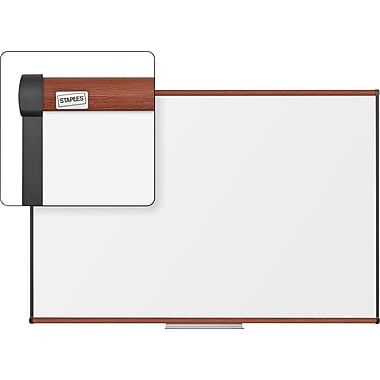Staples Dry-Erase Whiteboard with Tray, Cherry Frame, 6' x 4'